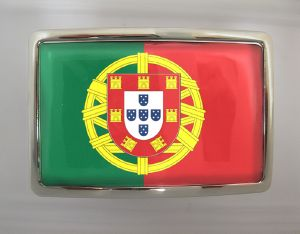 Boucle de ceinture Drapeau Portugal rectangle chrome