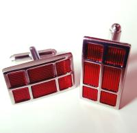 Boutons de manchette Rectangle Design rouge