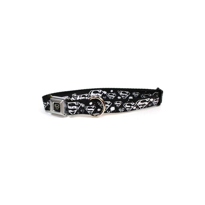 Collier pour chien Superman noir blanc - Boucle de ceinture.fr 19b5d8ffb9b