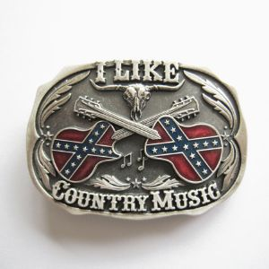 Boucle de ceinture I like country Music silver