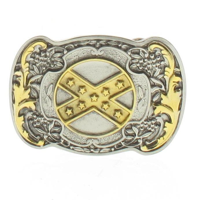 Boucle de ceinture Western drapeau confédéré plaqué or 24 carats ... 5979f22a6ad