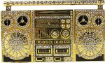 Boucle de ceinture Boom box old school strass or