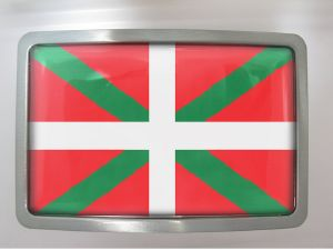 Boucle de ceinture Drapeau Basque rectangle chrome