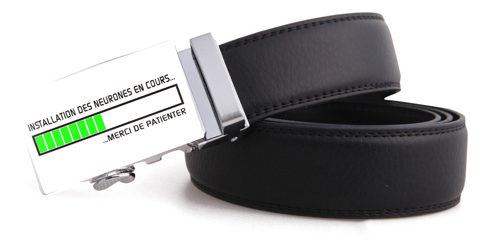 magasiner pour l'original fabrication habile à bas prix Ceinture cuir noir avec boucle automatique neurones