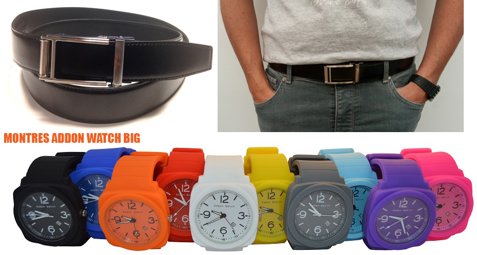 Ceinture cuir noir ULTRA + Montre Addon Watch Big