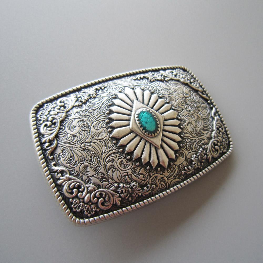 Boucle de ceinture Western Antique plaqué argent émail turquoise ... 43aacc223d4
