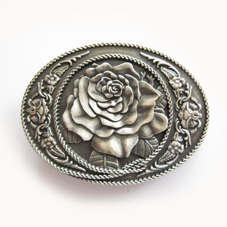 Boucle de ceinture western rose plaqué argent - Boucle-de-ceinture.fr 47317901b3b