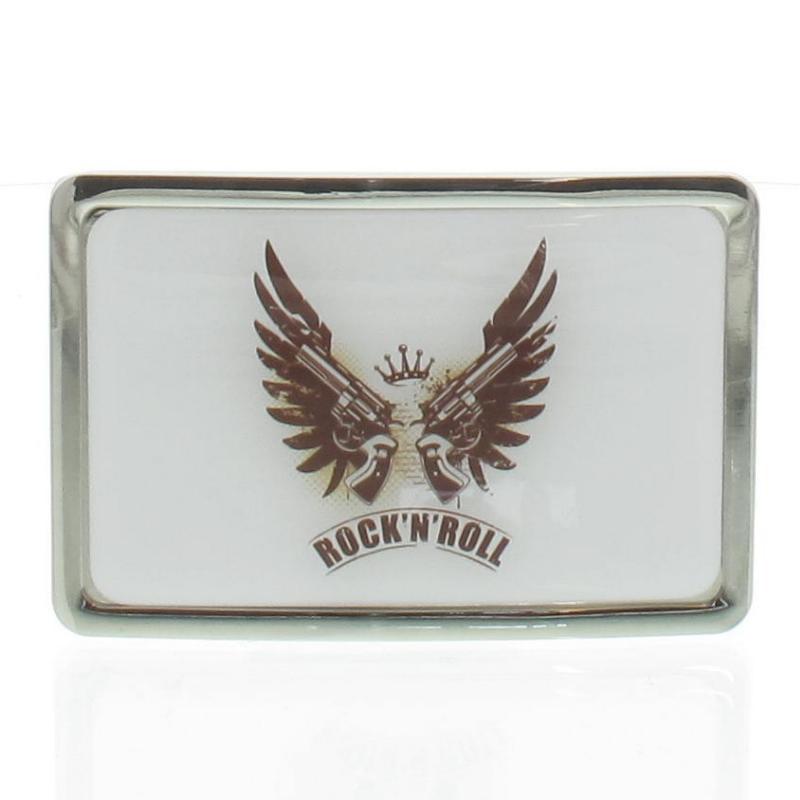 bonne qualité prix attractif belle couleur Boucle de ceinture Rock N Roll Guns contour chrome
